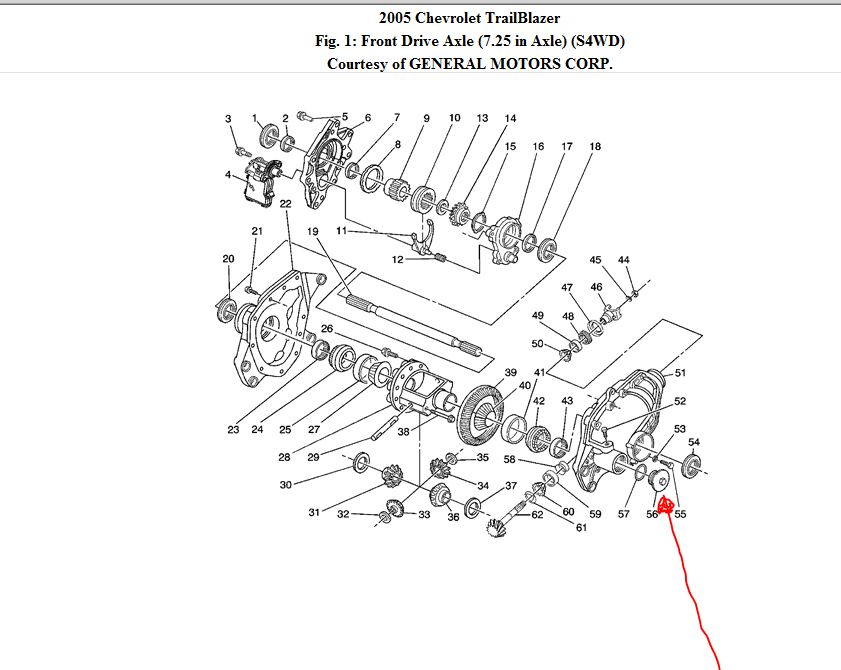 2004 blazer front differential diagram