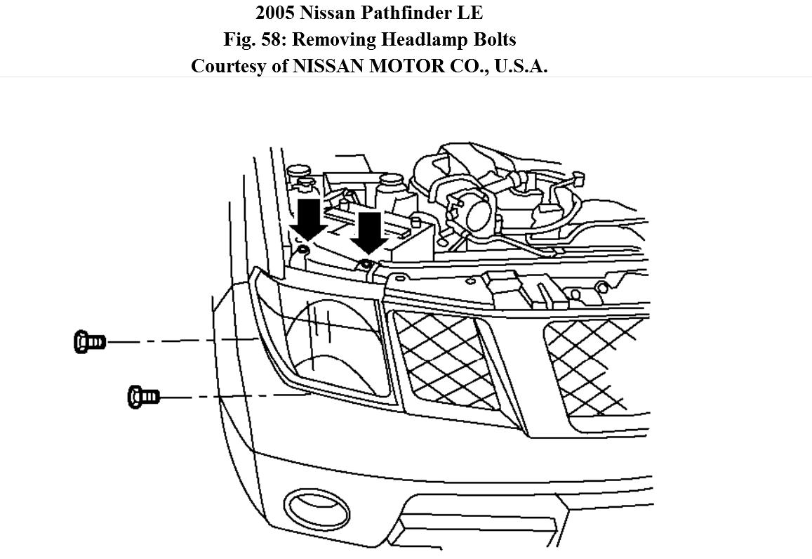 service manual  remove assembly headlight 2005 nissan