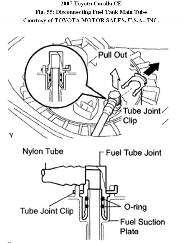 2007 toyota corolla fuel pump location