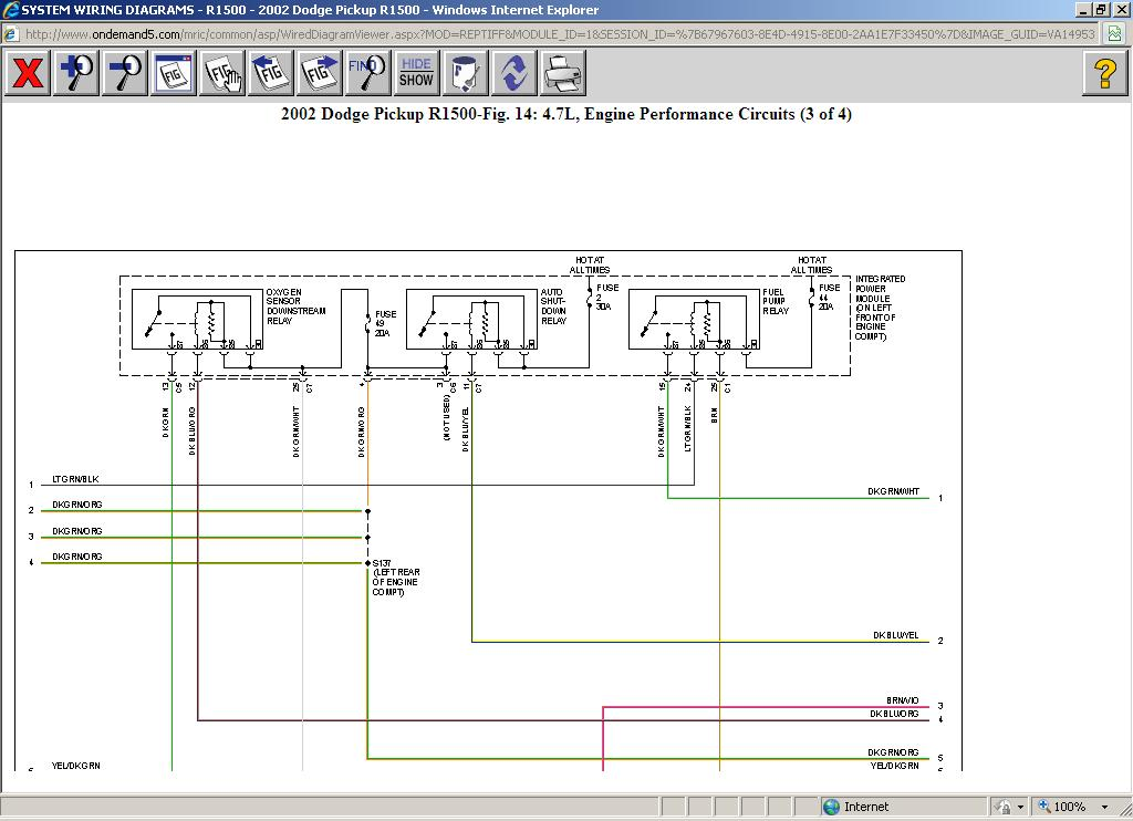 Fuel Pump Wiring Diagram: V8 Two Wheel Drive Automatic ...  Dodge Ram Fuel Pump Wiring Diagram on