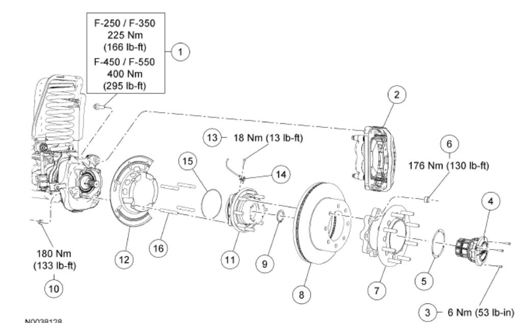 1997 ford f350 4x4 front axle diagram