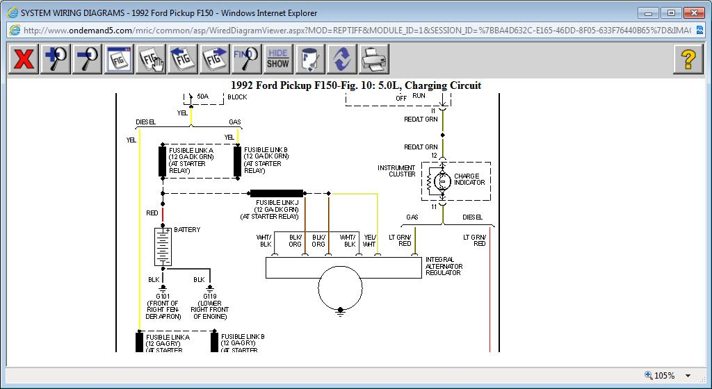 original system will not charge alternator works ok and battery is ok , 1999 F150 Radio Wiring Diagram at aneh.co