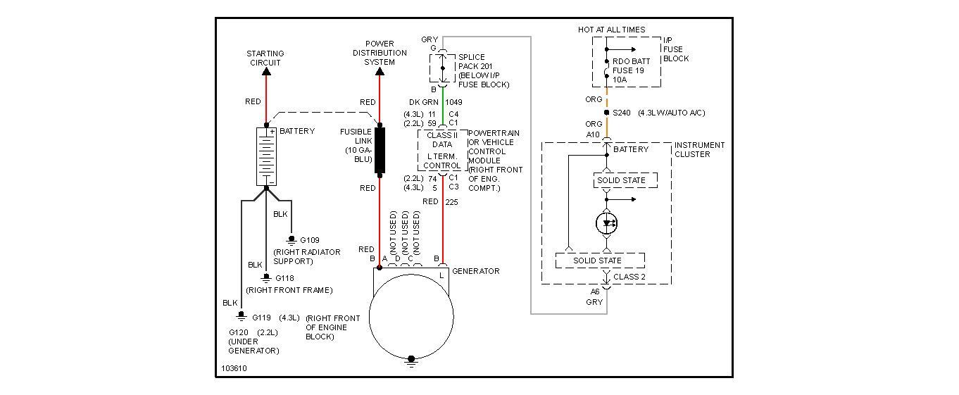 diagnostic  98 blazer not charging  alternater fine
