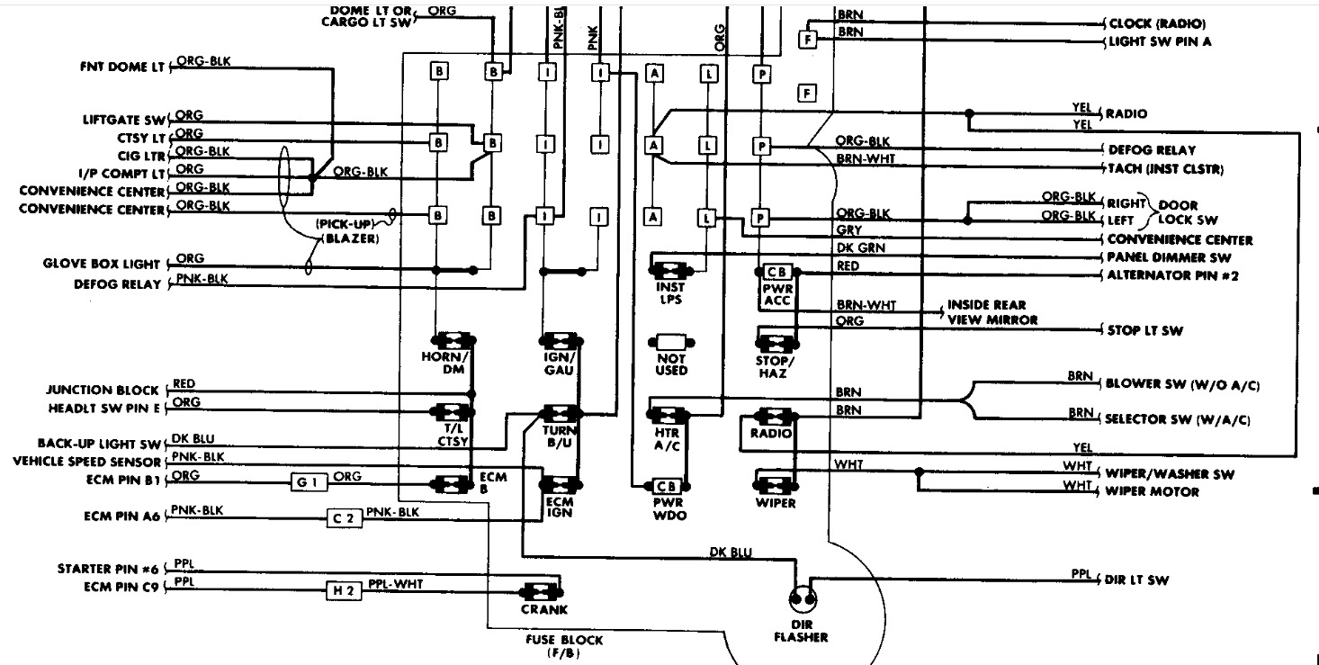 1989 Chevy S10 Blazer Fuse Box Diagram - Electrical Wiring Diagram Guide
