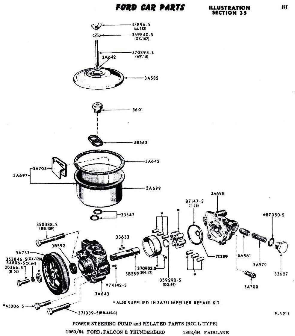 1964 ford thunderbird power steering resevor  need exploded parts