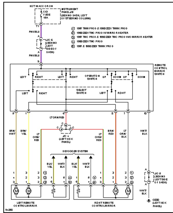 original 2001 toyota camry power mirror replacement electrical problem 2009 Toyota Matrix Engine Diagram at bayanpartner.co