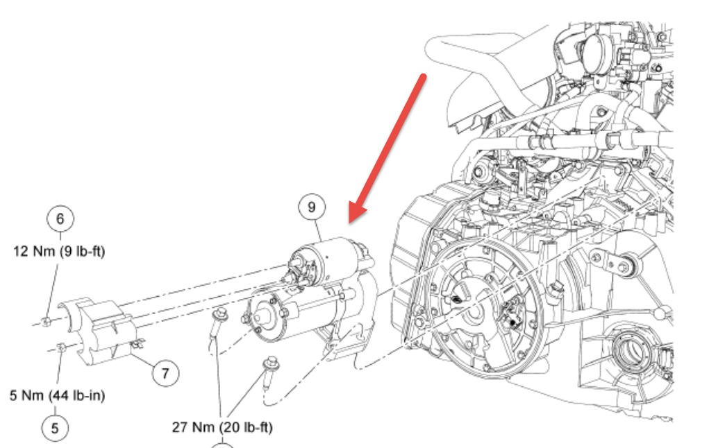 ford escape hybrid location of the starter
