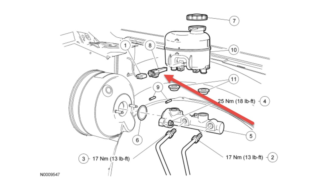 ford brake master cylinder diagram