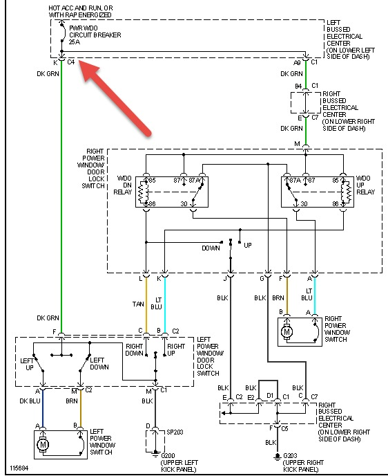 original 1999 gmc sierra power window switch wiring diagram GMC Truck Electrical Wiring Diagrams at bayanpartner.co