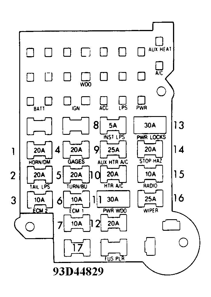 1992 chevrolet van fuse box  diagram of fuse panel for