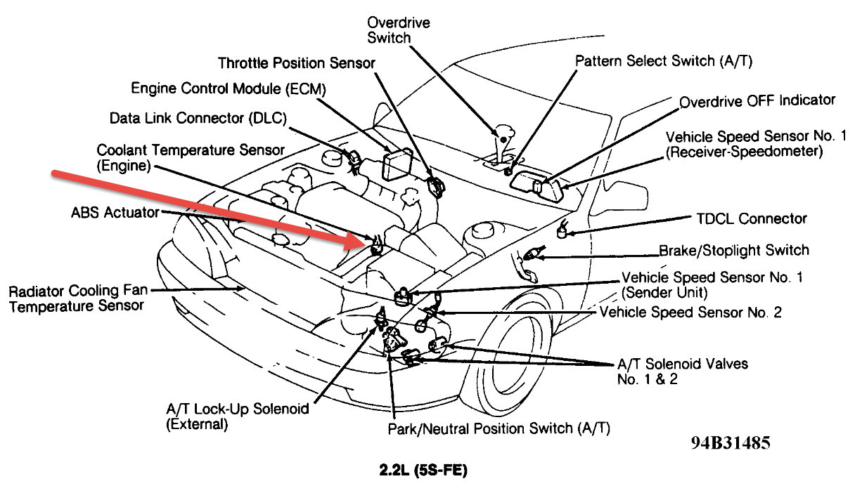1994 Toyota Camry 22 Code I Found Appeared But Don't Know. Replace The Engine Coolant Temp Sensor Click To Enlarge. Toyota. Toyota Camry Coolant Switch Diagram At Scoala.co