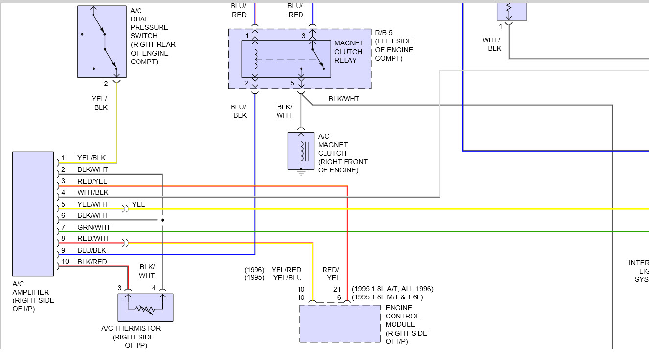 wiring harness from air conditioner amplifier color coding orToyota Aircon Wiring Diagram #6