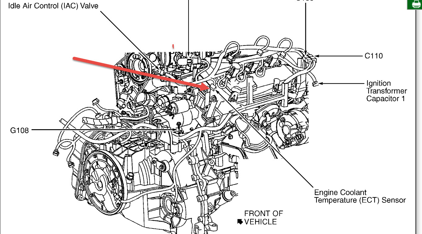 Ford Engine Coolant Wiring Library 2001 Taurus Diagram Besides 2008 Focus Egr Valve Temp Sensor Location Cooling Problem 6 Cyl Four