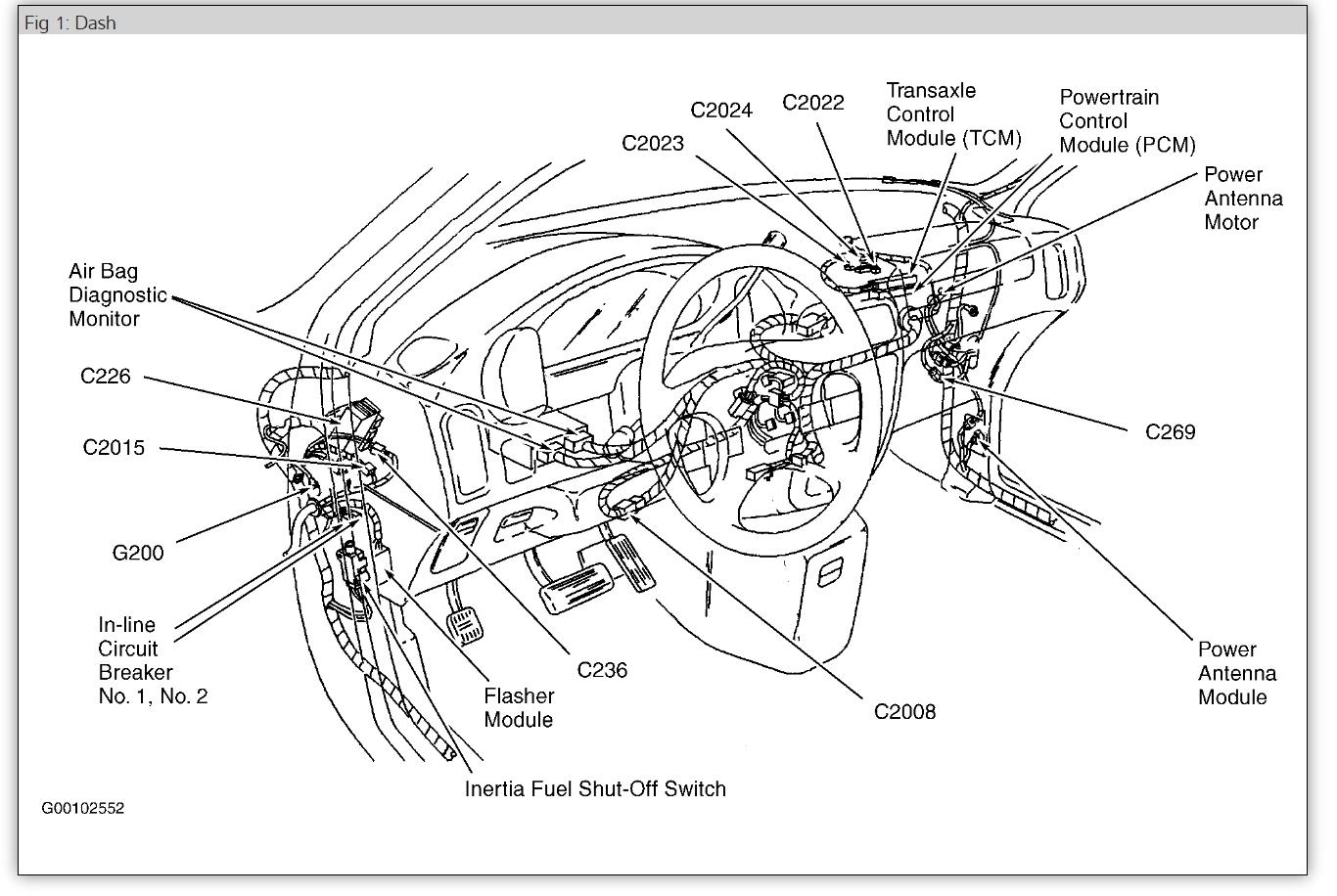 1997 Mercury Villager Fuel Pump Shut Off Switch