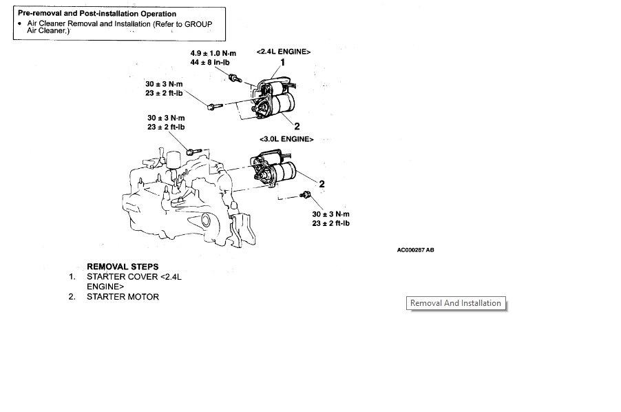 chrysler sebring convertible starter location