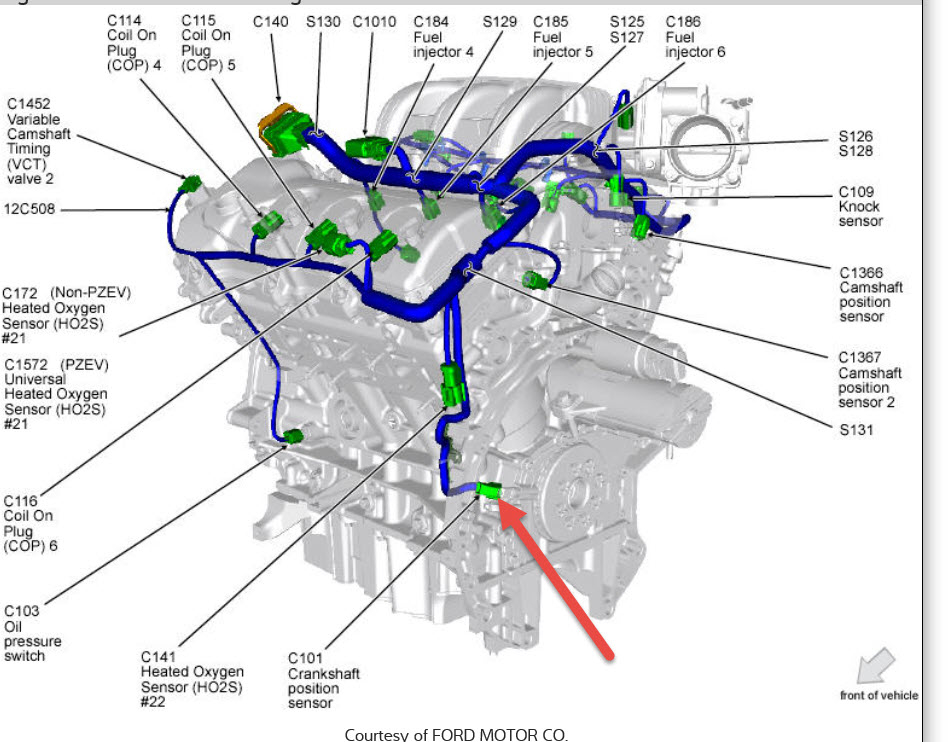 crankshaft position sensor location where is it located 2008 Ford Taurus Cylinder Diagram