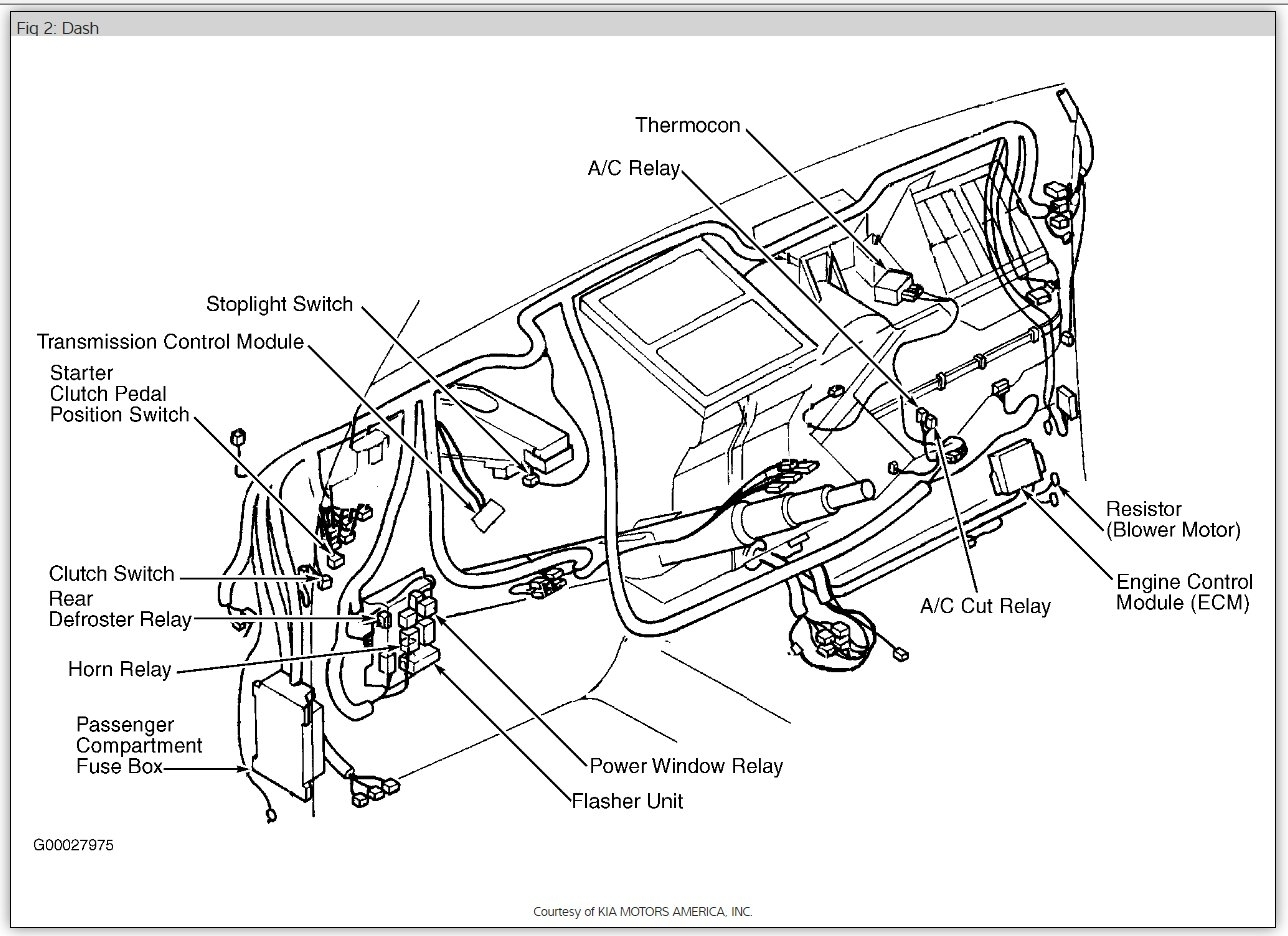 original 2001 kia sportage heater fan fuse location? electrical problem Kia Sportage Electrical Diagram at readyjetset.co