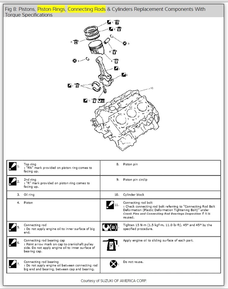 engine rod  head and crankshaft torque specifications