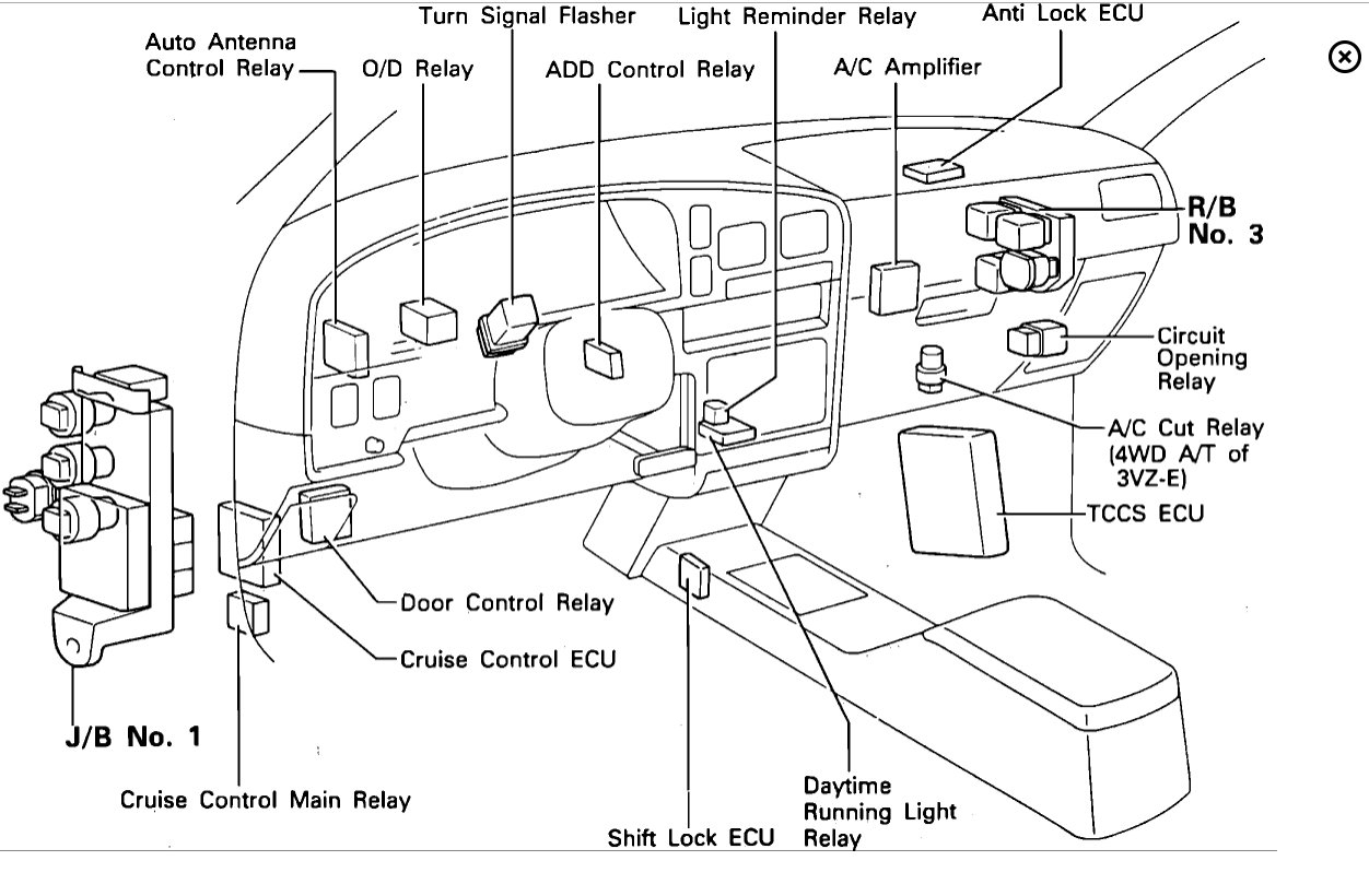 Toyota 4runner 1995 Toyota 4runner Ac Relay on toyota pickup fuse box diagram