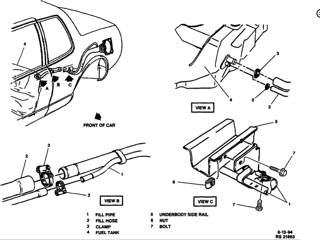fuel pump location where is fuel pump for 1994 cadillac. Black Bedroom Furniture Sets. Home Design Ideas