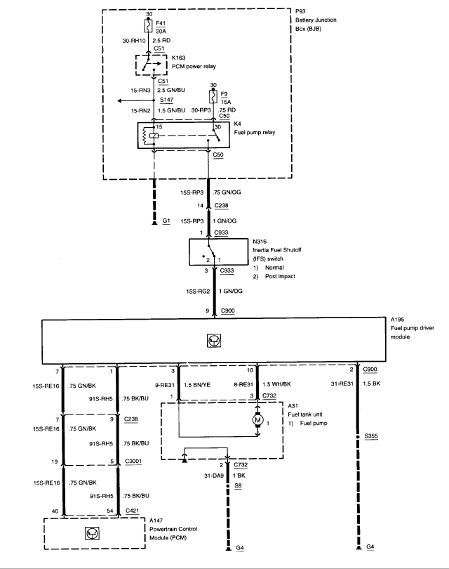 1999 cougar fuel pump wiring diagram where is the location of the fuel pump driver module 2000 cougar fuel pump wiring diagram #4