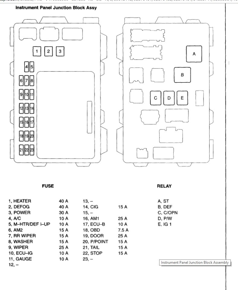 Toyota matrix fuse box diagram wiring