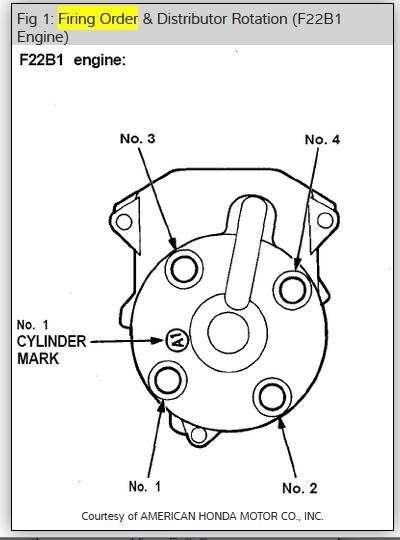 Distributor firing order four cylinder front wheel drive for 1998 honda civic firing order