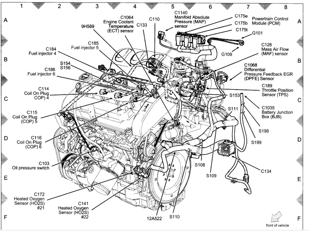 2001 Ford Escape Oil Pressure Switch Location also Camaro And Firebird How To Replace Oil Pressure Sensor 419356 likewise Spark Plug Wire Diagram 2001 Ford Taurus besides Firingorder together with 1995 Volvo 850 L5 2 3ll5 2 4l Serpentine Belt Diagram. on ford 3 0l engine diagram