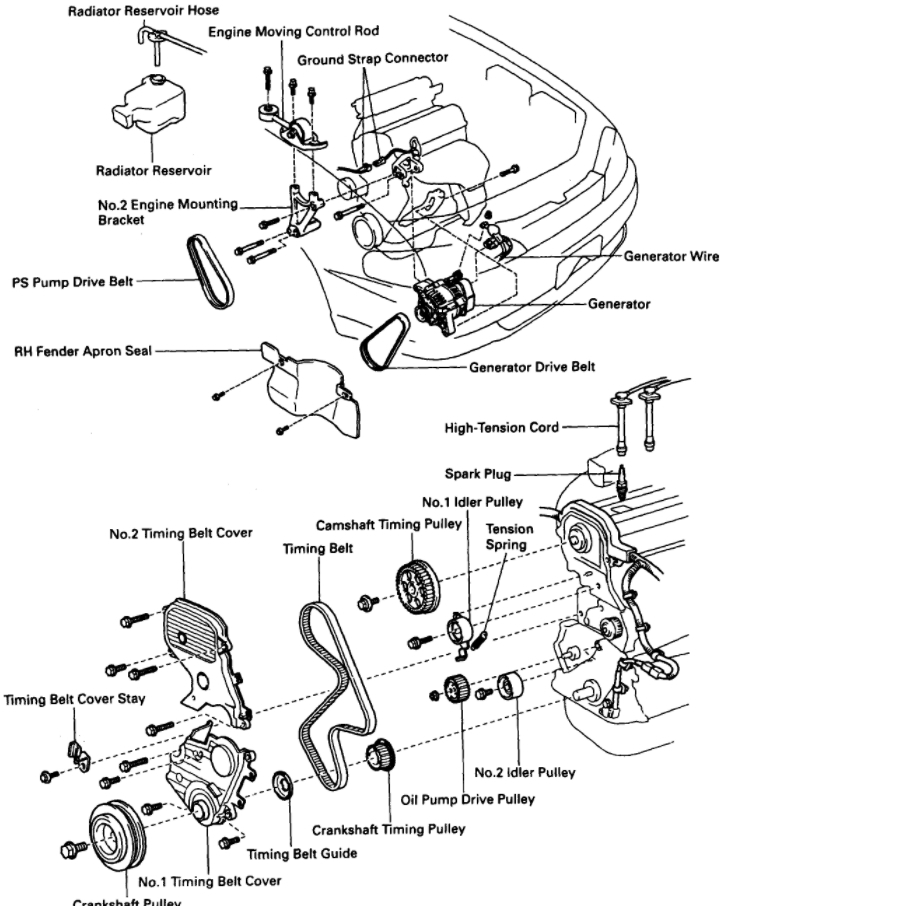 diagram of timing belt marks and installation rh 2carpros com 1998 Toyota Camry Parts Diagram 2005 Toyota Camry Parts Diagram