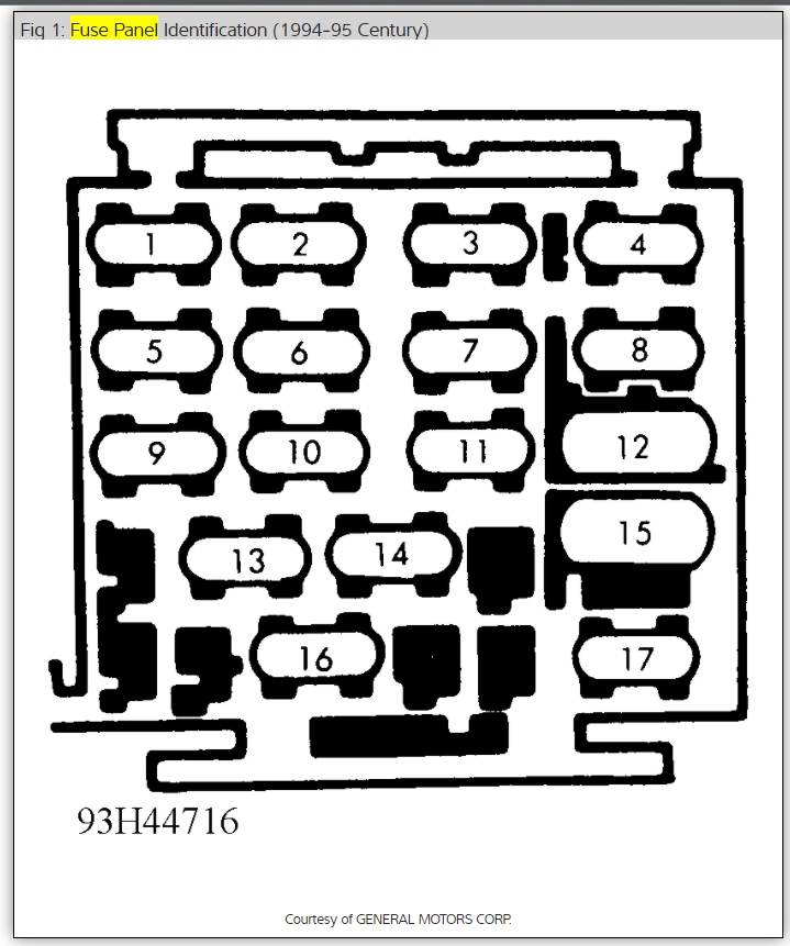 original fuse box diagram electrical problem 6 cyl front wheel drive 1996 buick century fuse box location at aneh.co