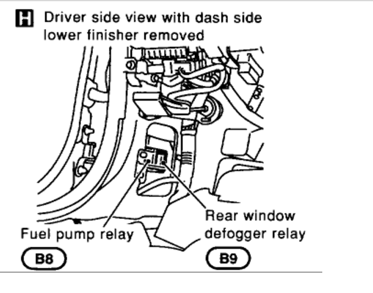 cannot locate the fuel pump relay  engine performance problem 6