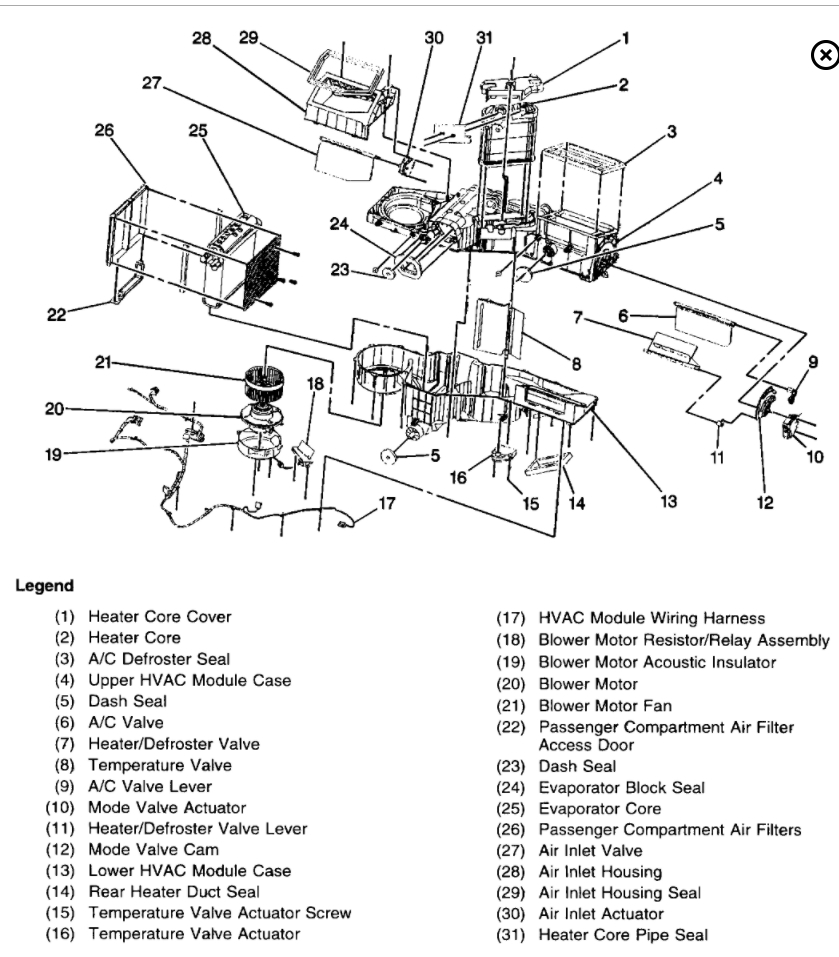 2002 Chevy Silverado Parts Diagrams Heater
