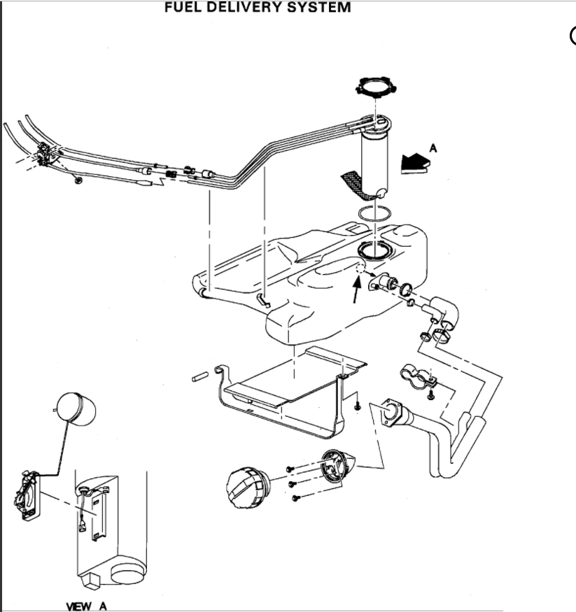 cutting fuel pump access panel and removing fuel pump