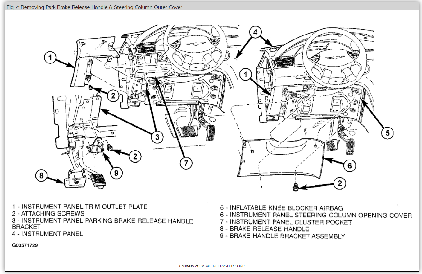 Chrysler Pacifica Emergency Brake Diagram Not Lossing Wiring 2007 3 8 Engine Dash Separating I Need To Remove It Rh 2carpros Com 2005 Fuse Ground Wire