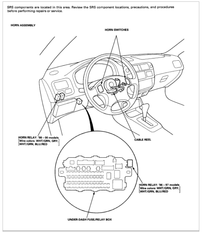2000 Honda Civic Horn Wiring Diagram : Honda civic horn relay location wiring diagrams