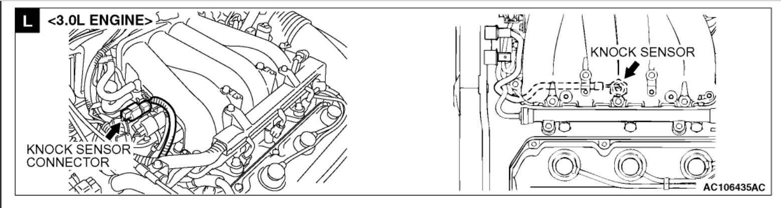 Location Of Knock Sensor  Engine Performance Problem 4 Cyl Front