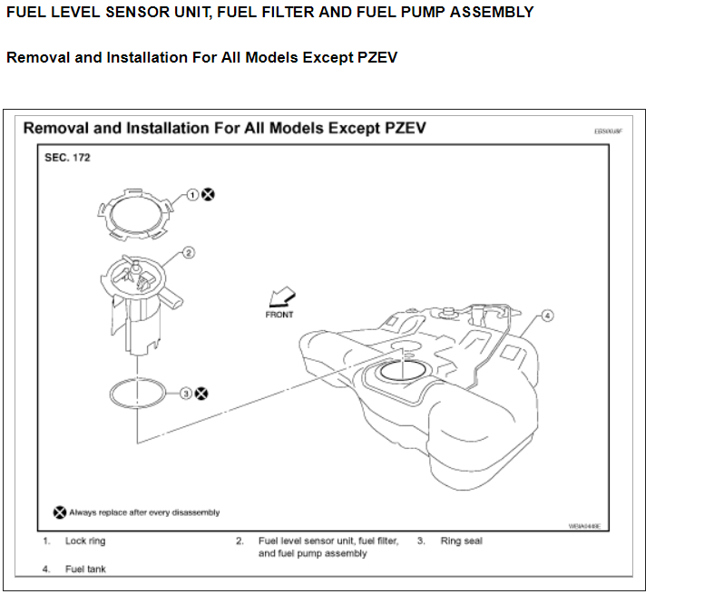 fuel filter location  engine performance problem 4 cyl front wheel