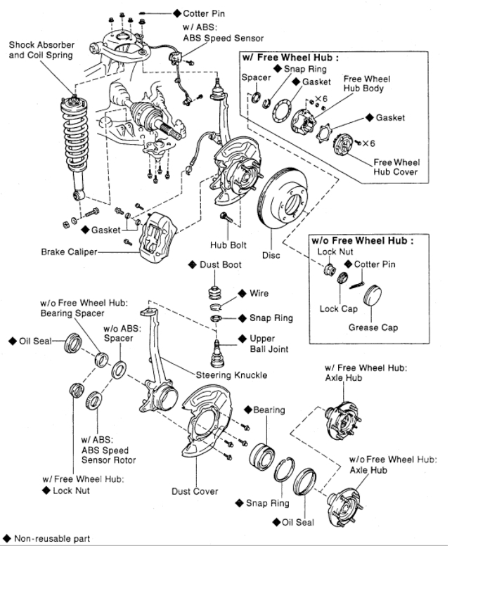 2002 toyota tacoma wheel bearing diagram