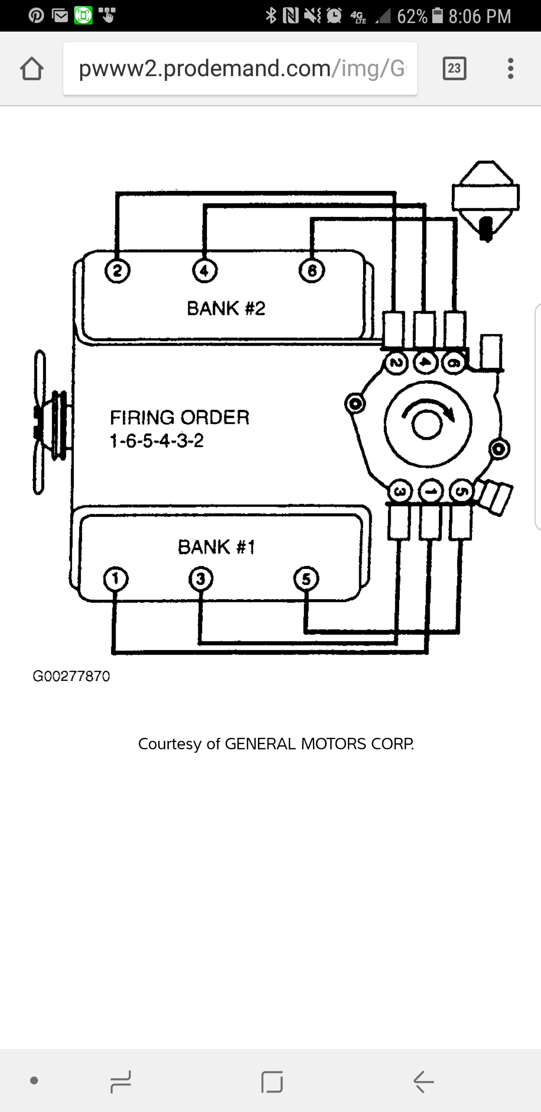 Plug Wire Diagram  Wire Location From Distributor Cap To Cylinders
