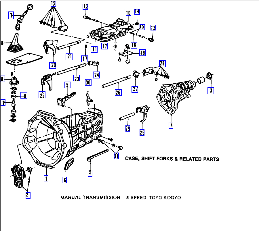 mazda b3000 transmission install diagram