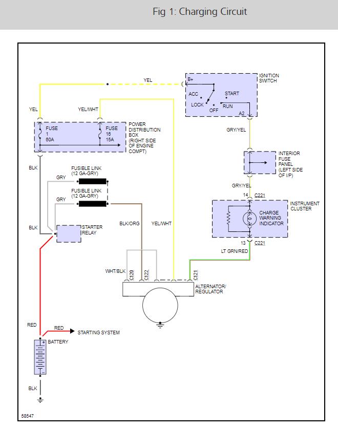 Alternator Diagram  Where Does The Alternator Wiring Go To