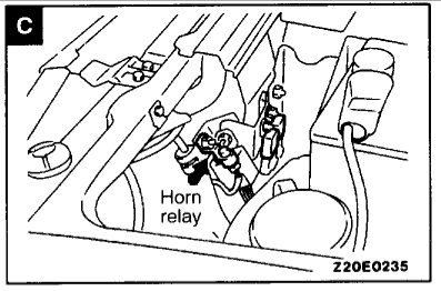 horn relay location where is the horn relay located?1994 Mitsubishi Montero Horn Circuit Schematic Diagram #16
