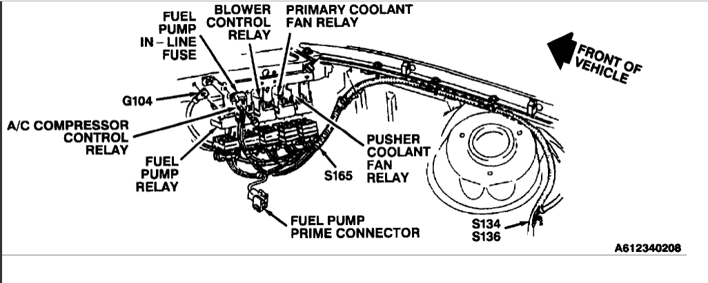 1994 buick century fuel pump relay location