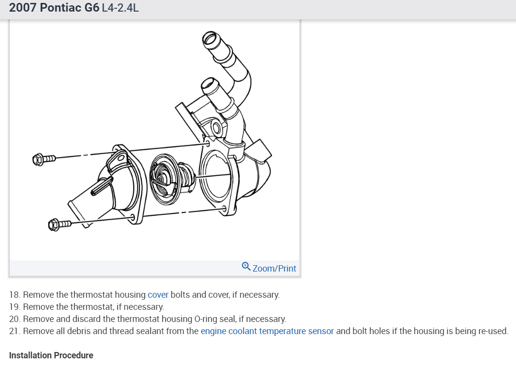 Thermostat Location Where Is The On A V6 Engine Diagram Of 2 4 Liter Pontiac Thumb