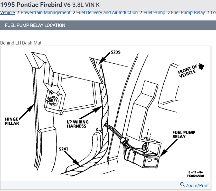 Pontiac Fuel Pump Diagram - Wiring Diagrams