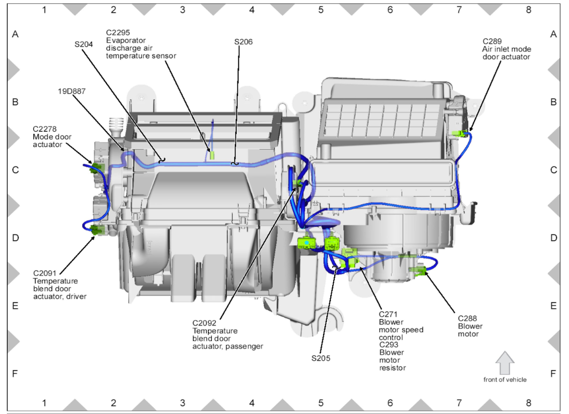 Location Of The Ac Heater Blend Door Actuator. Ford. Dooe Diagram 2006 Ford Fusion At Scoala.co