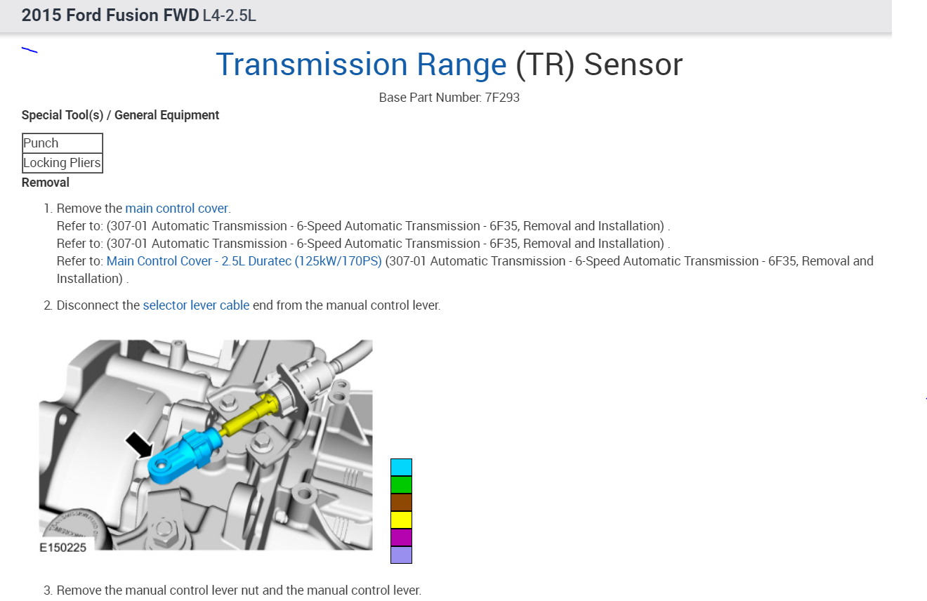 Transmission Range Sensor Location Cannot Find The Ford Fusion Diagram Thumb