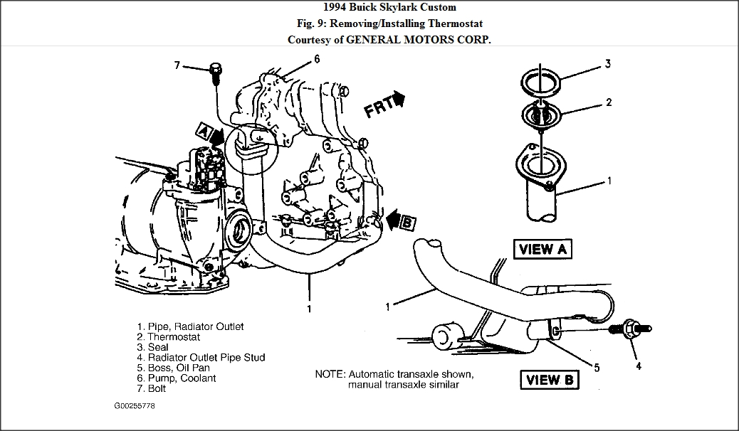 1997 buick skylark thermostat location