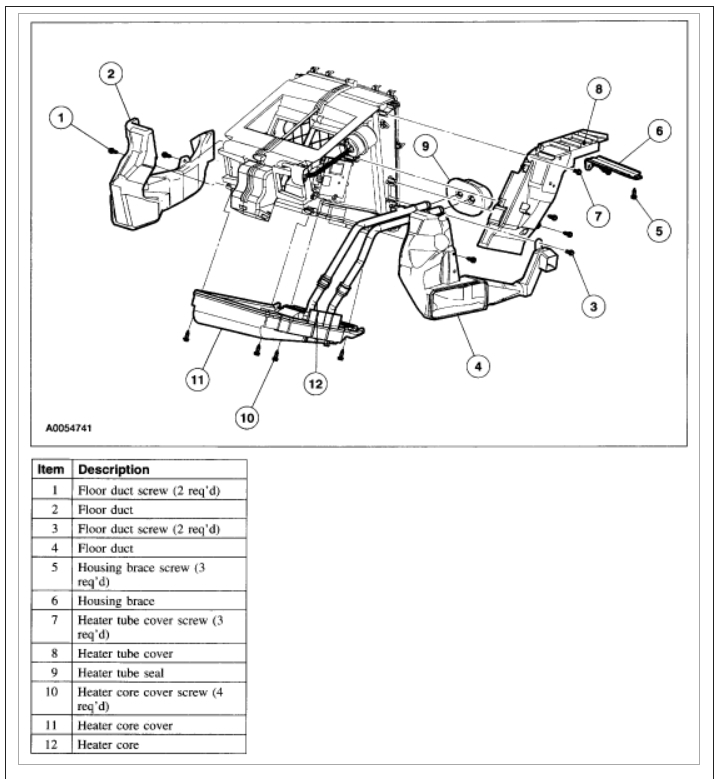 2001 Ford Expedition Heater Core Hose Diagram