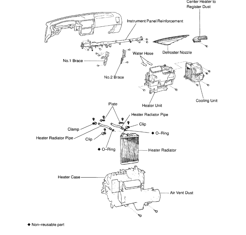 Heater Core How To Replace On 1998 Taa. Toyota. Toyota Tacoma Heater Air Conditioner Diagram At Scoala.co